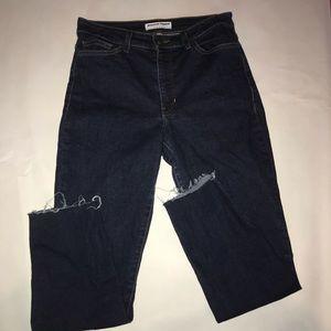American Apparel High Rise Jeans raw hem